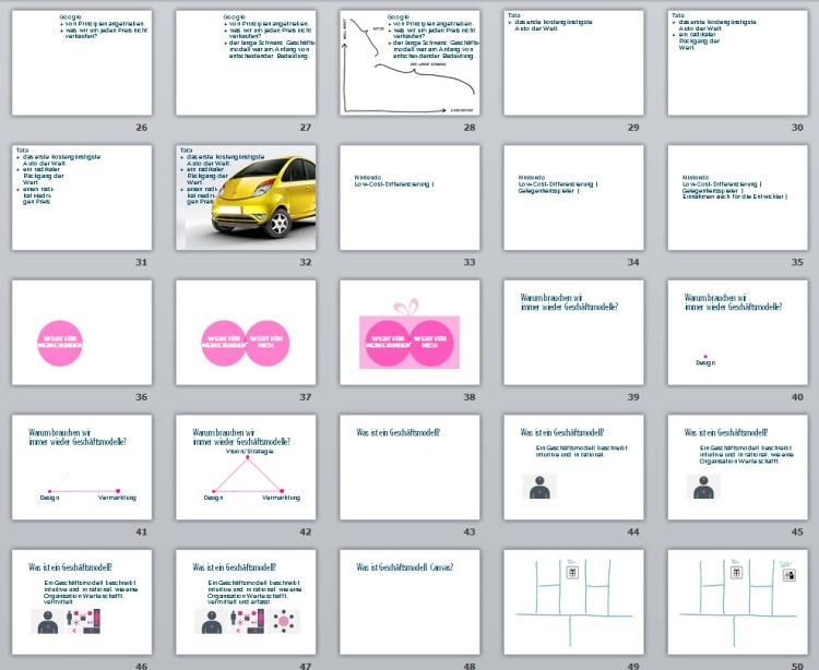 Slides 26-50 of the presentation business models design - German